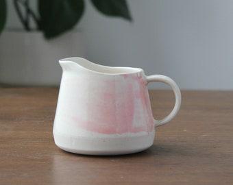 Handmade Ceramic Blush splatter Milk Pitcher