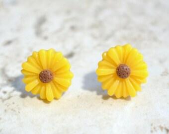 Yellow flower studs etsy yellow daisy earrings flower earrings stud earrings bridesmaid earrings lucite earrings mightylinksfo