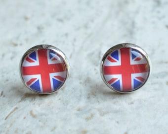Stainless Steel Flag Of Brazil Circle Stud Earrings pair
