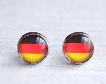 German Flag Germany Pride Black Red Gold Beads Dangle Handmade Earrings