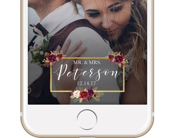 Marsala Wedding Snapchat Filter / Custom Wedding Geofilter / Elegant Snapchat Filter / Mr & Mrs Snapchat Filter / Winter Wedding Filter