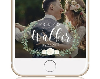 Greenery Wedding Snapchat Filter / Custom Wedding Geofilter / Elegant Snapchat Filter / Mr & Mrs Snapchat Filter / Winter Wedding Filter