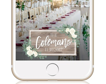 Greenery Wedding Snapchat Filter / Wedding Geofilter / Snapchat Wedding Filter / Custom Geofilter / Winter Wedding / GREENERY WOOD GEOFILTER