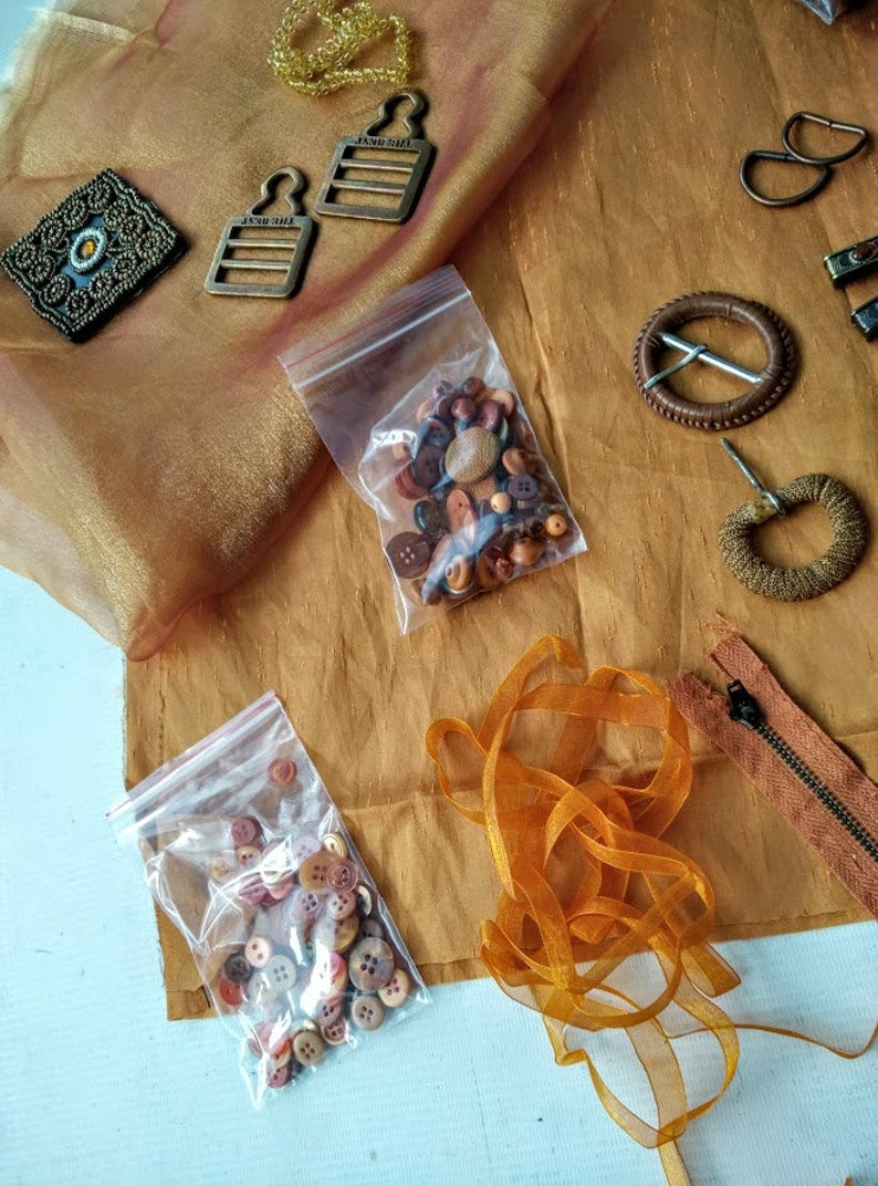 Crazy Quilting Inspiration Craft Kit  in Copper Colors for Fabric Collage Fabric Jewelry Scrapbooking