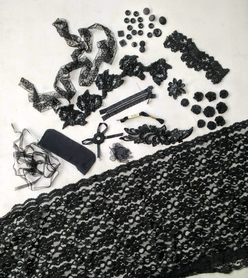 Scrapbooking, Gothic Fabric Jewelry Crazy Quilting Inspiration Craft Kit  in Black for Fabric Collage Victorian