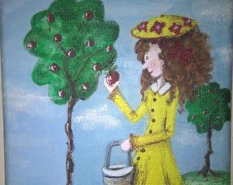 2 Acrylic paintings - Mavis picking apples and Mavis on a bike - on small canvas
