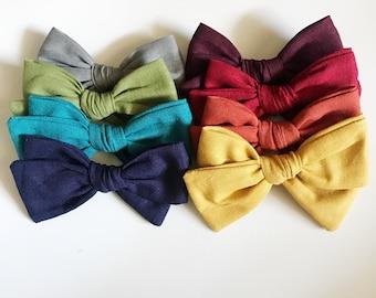 Fall bows, fall bow set, mustard bows, plum bows, gray bows, navy bows, red bows, fabric bows, bows on clips, bows on headbands, baby bows