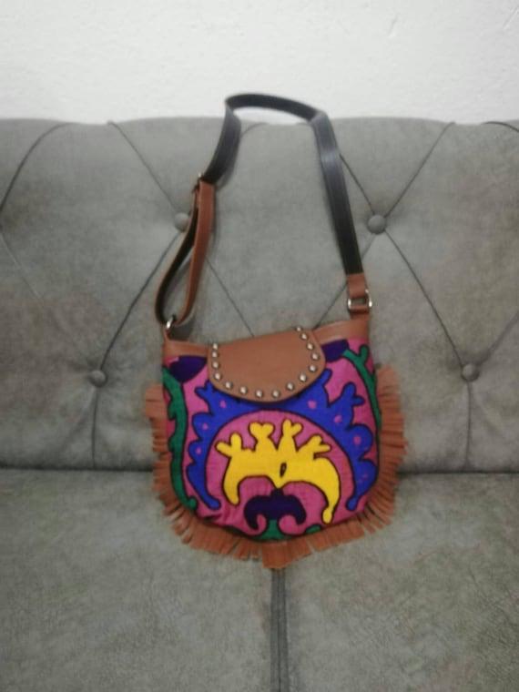 Vintage round bag,round bag,crossbody purse,leather bag,vintage carpet bag,kilim bag,shoulder bag,Vintage handbag,turkish kilim bag,purse