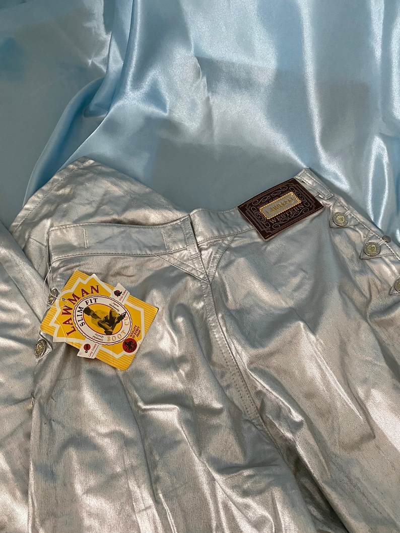 new with tags Vintage 1990s silver western style high waisted Lawman jeans Size 5.