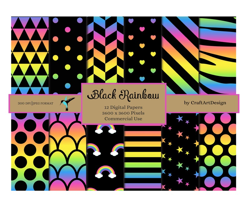 Background Digital Paper Pack Black Rainbow Patterns Paper Digital Scrapbook Paper Commercial Use  Instant Download
