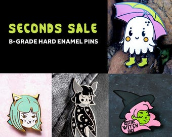 SECONDS SALE - Hard Enamel Pins - B-grade - Imperfect - Lapel Pin - Bobcat - Midnight Moon Bat - Resting Witch Face - Fashion Accessory