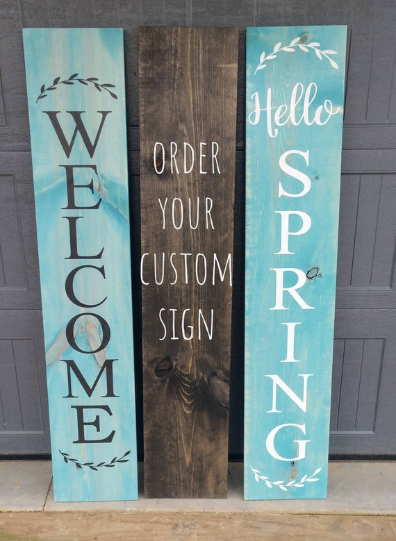 Farmhouse Welcome Sign Large 5 Feet Tall Wooden Rustic Decor Front Door Porch Entryway Vertical Welcome Sign Asst Colors