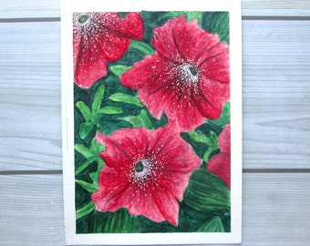 Flowers - Original Fine Art Watercolor Painting - 5x7