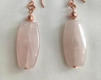 Earrings, Rose Quartz drop earrings, Large curved rectangle Rose Quartz, Rose gold shepherd hooks, Birthstone of Pisces/Taurus, Handmade,