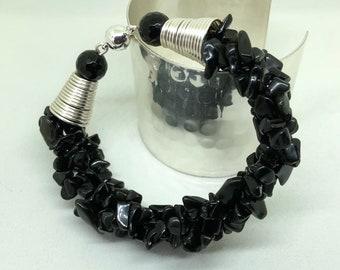 Bracelet, Black Spinel Bracelet, Multi strand Bracelet, Spinel Nugget Bracelet, 7 inches, Hand made, Natural gem stones, Gift for her,