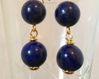 Earrings, Lapis Lazuli Earrings, Blue and Gold Drop earrings. September Birthstone, Zodiac Virgo/Libra, Gold findings, Gift for her,