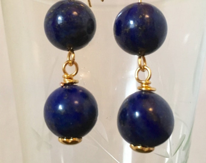 Earrings, Lapis Lazuli Earrings, Blue and Gold Drop earrings. September Birthstone, Zodiac Virgo/Libra, Gold findings, Gift for her,