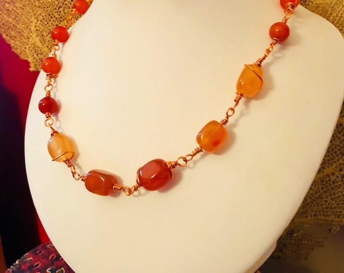 Carnelian Necklace, Rosary link Necklace,  Orange Necklace, Beaded jewellery, Birthstone Jewellery, Handmade jewellery, Gift for her,