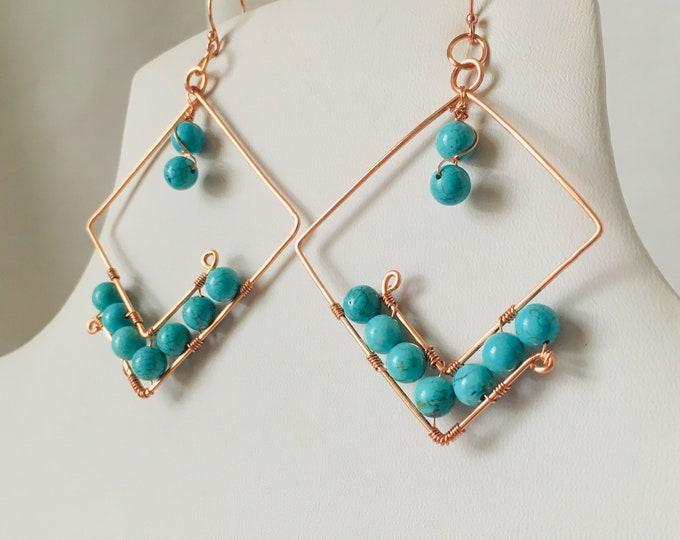 Earrings, Blue Jasper Copper Earrings, Blue wire work Earrings, Handmade,