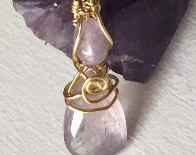 Amertrine Pendant, Amethyst and Citrine, Gold 925 Sterling Silver, Mother's Day, Wedding Jewellery, Gift for her,