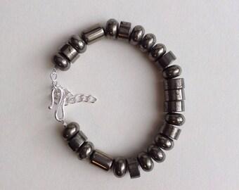Pyrite Bracelet, Fathers Day, Unisex, Mens Bracelet, Bracelet, Natural Pyrite tubes, rondelles and rounds, Genuine gem stones,