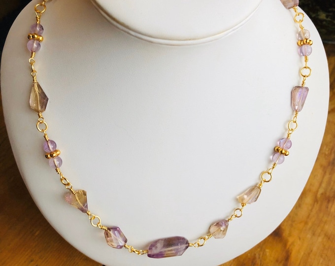 Amertrine Necklace, Rosary link Necklace, Amethyst, Citrine,18ct Gold plated  925 Sterling Silver, Only one available,
