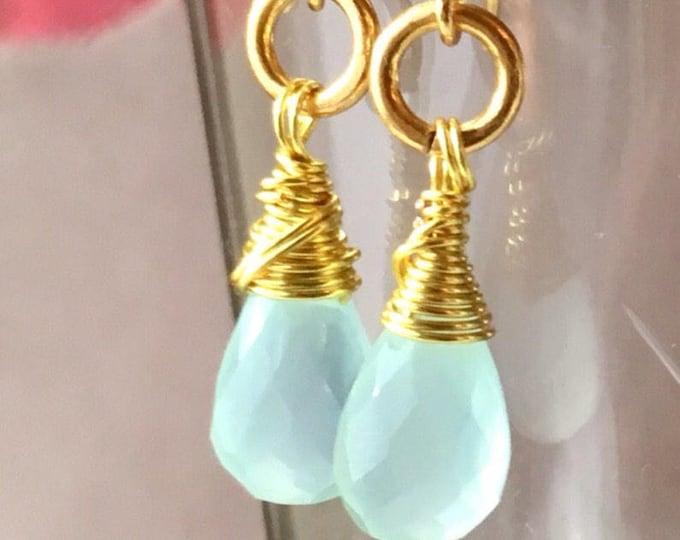 Earrings, Sea Blue Chalcedony Earrings, Chalcedony, Gemstone Earrings,  Dangle Earrings, Gift for her
