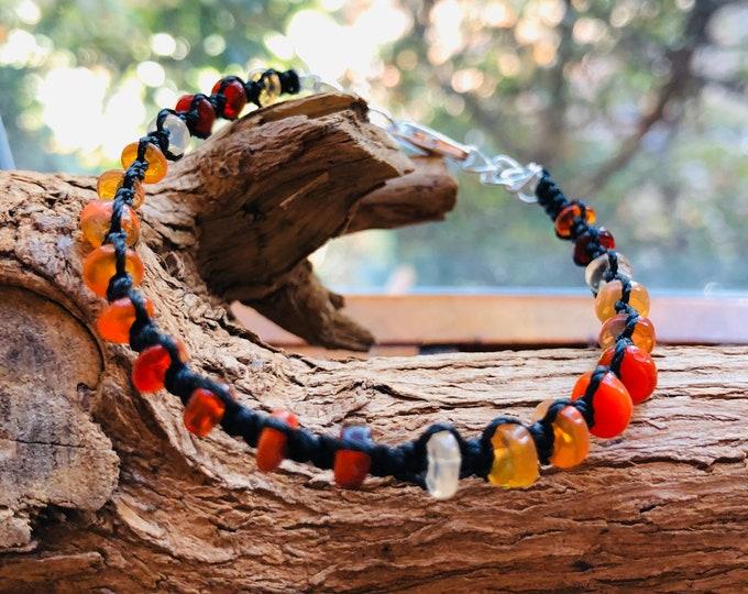 Bracelet, FIre Opal Bracelet, Unisex, Micro Macrame Bracelet, Birthstone, Libra, Gift for him, Gift for her, Natural gem stone
