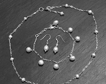 Pearl Set. Necklace, Bracelet, Earrings, Genuine fresh water cultured Pearl, 925 Sterling Silver, Birthstone jewellery, Handmade,