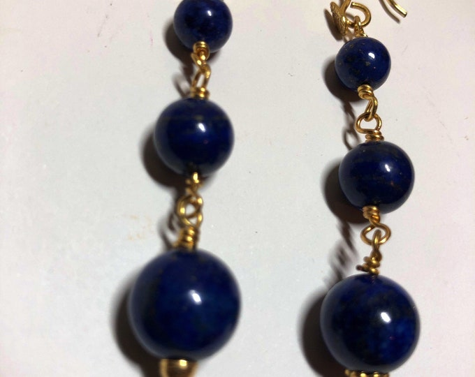 Lapis Lazuli and Gold Earrings. Rosary link earrings. Blue Earrings, Lapis Lazuli. Birthstone Jewellery, September, Gift for her,