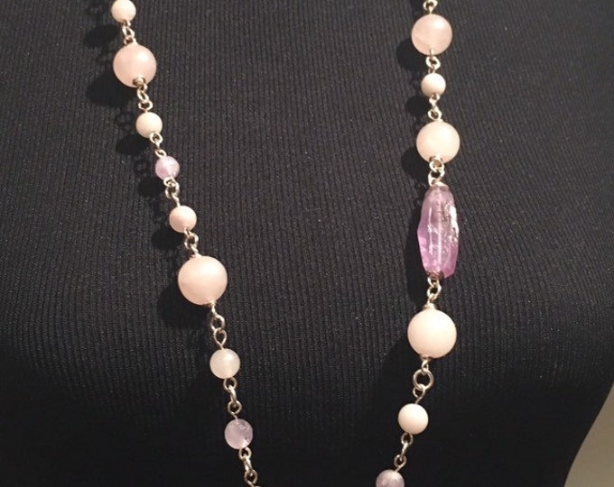 Rose Quartz and Amethyst Rosary link necklace, Long beaded necklace, Pieces Birthstones, Birthstone Jewellery, Unique, Gift for her