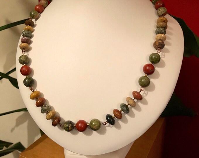 Jasper Necklace, Forest Jasper Rosary link Necklace. Adjustable macrame Necklace, Genuine Gem Stones, Handmade,