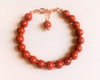 Bracelet, Red Jasper and Rose Gold Bracelet, Jasper Bracelet, Rose Gold, Genuine gem stones, Handmade gem stone jewellery, Gift for her,