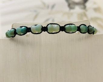 Opal Bracelet, Unisex, Micro Macrame Bracelet, Opal and Silver Bracelet, Libra, Gift for him, Gift for her, Natural stone