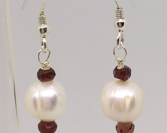 Pearl Garnet Earrings, Genuine fresh water cultured Pearls, Garnets, 925 Sterling Silver,, Wedding Jewellery, June birthstone,