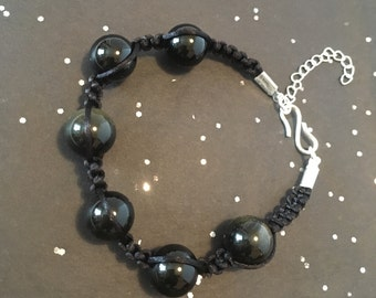 Fathers Day, Bracelet, Unisex, Mens Bracelet, Golden Obsidian Gemstone Bracelet, Macrame Bracelet, Scorpio Birthstone, Birthstone Jewellery,