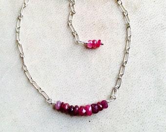 Ruby bracelet, Ruby and Sterling Silver Bracelet, Birthstone jewellery, Cancer Handmade, Precious Gemstones