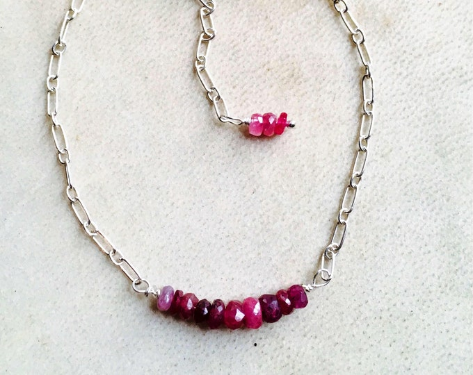 Ruby bar bracelet, Ruby rondelles 925 Sterling Silver Oval link silver chain, July Birthstone Cancer Handmade, Genuine Gemstones