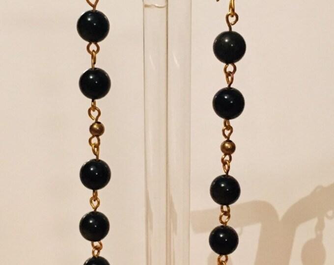 Earrings. Long Golden Obsidian Rosary link Earrings, Golden Obsidian Earrings, Scorpio Birthstone, Birthstone Jewellery, Genuine Gems