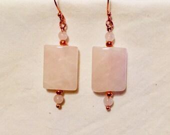 Rose Quartz earrings, Rose gold earrings, Pink earrings, Birthstone jewellery, Pisces jewellery, Valentines gift, Gift for her,