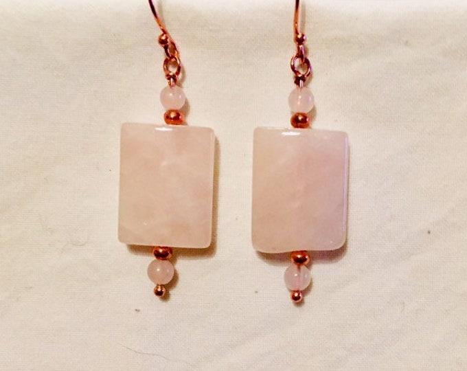 Earrings, Rose Quartz drop earrings, Large rectangle Rose Quartz, Rose gold shepherd hooks, Birthstone of Pisces/Taurus, Valentines gift