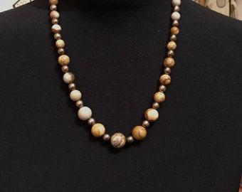 Jasper Necklace, Picture Jasper and Hematite Necklace. Adjustable macrame Necklace, Genuine Gem Stones, Handmade, Gift for her