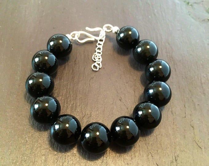 Bracelet, Unisex, Black Agate Bracelet, Chunky Bracelet, Genuine gem stones, Large 14mm Beads, Gift for him, Gift for her,