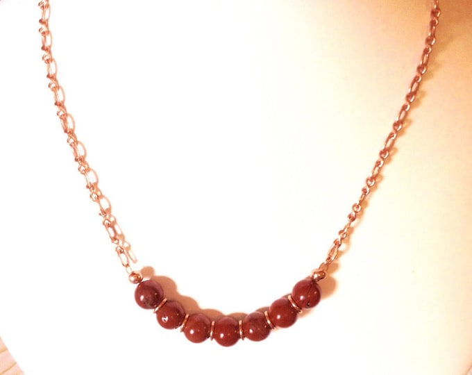 Jasper Necklace, Red Jasper and Rose Gold Necklace, Genuine Gem Stones, Handmade, Aries Birthstone,