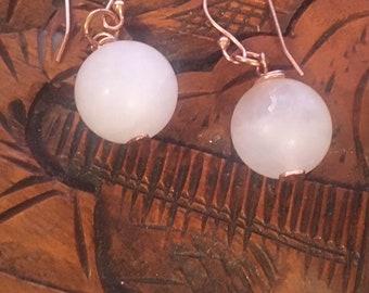 Rose Quartz earrings, Matt Rose Quartz earrings, Rose Gold earrings, Birthstone  jewellery, Handmade jewellery, Gift for her,