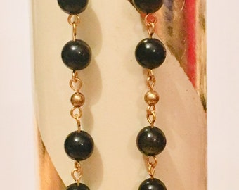 Earrings. Long Golden Obsidian Rosary link Earrings, Golden Obsidian Beaded Earrings, Scorpio Birthstone, Birthstone Jewellery, Genuine Gems