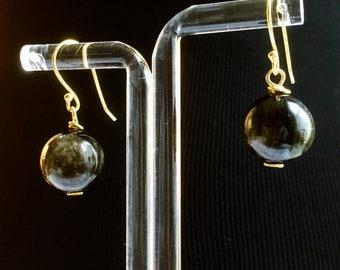 Earrings, Obsidian Earrings, Golden obsidian Earrings, Black drop earrings. Dragons Eye, Birthstone Jewellery, Zodiac Scorpio, Gift for her,