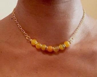 Yellow Agate Jewellery Set, Yellow Agate and Gold, Beaded Jewellery, Gift for her,