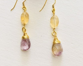 Amertrine Earrings, Amethyst and Citrine, Gold 925 Sterling Silver, Mother's Day, Wedding Jewellery, Gift for her,