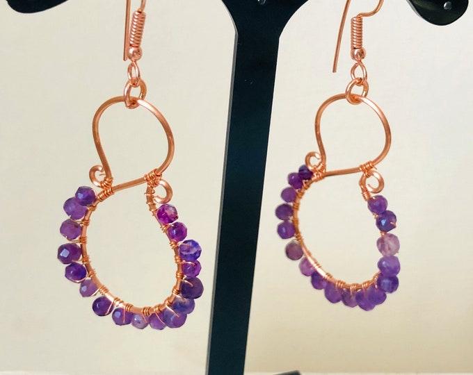 Amethyst Earrings. Rose Gold Earrings, Wire work Earrings, Pisces, Birthstone Earrings, Gem Stone earrings, Handmade, Gift for her,